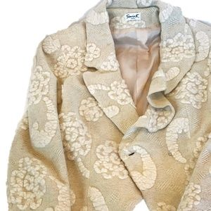 SONIA K FRANCE IVORY WOOL TEXTURED FABRIC JACKET